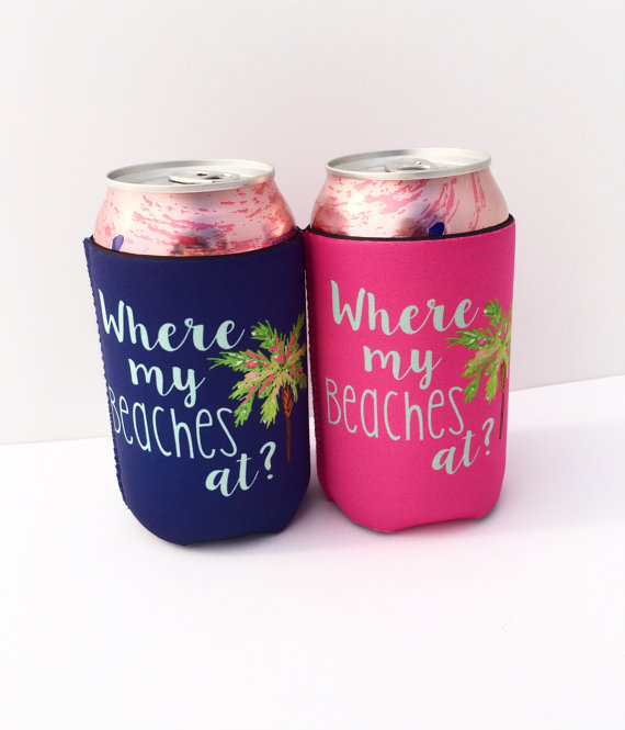 Palm tree bachelorette party drink koozies by Daws and Gray | via Palm Tree Bachelorette Party Ideas http://bit.ly/2db3WOL