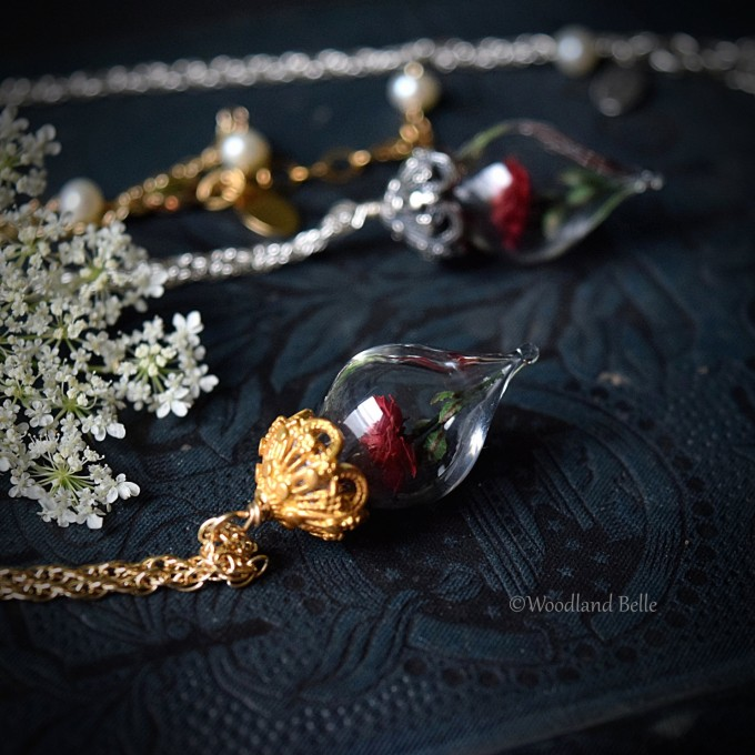Beauty and the Beast Rose Necklace | https://emmalinebride.com/wedding/beauty-and-the-beast-rose-necklace