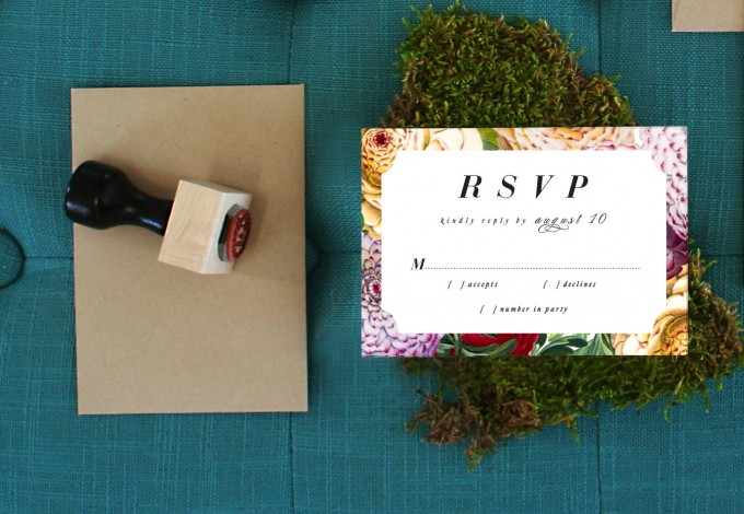 Invite by Citrus Press Co. | via How to Get Guests to RSVP to your Wedding | https://emmalinebride.com/etiquette/how-to-get-guests-to-rsvp/
