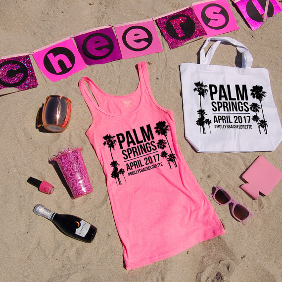 Hot Pink Palm Tree Tank Top by Jackie Pearl Designs | via Palm Tree Bachelorette Party Ideas http://bit.ly/2db3WOL