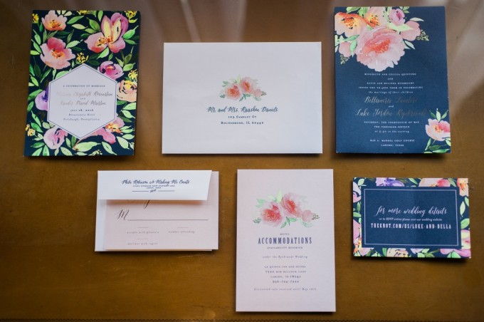 Navy and Pink Watercolor Invitations by Blush Paper Co.