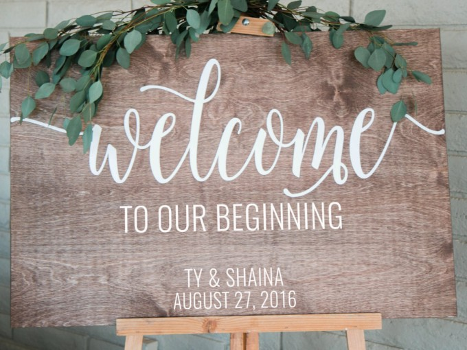 Welcome to Our Beginning sign | by Chalk In Hand | via https://emmalinebride.com/wedding/welcome-to-our-beginning-sign