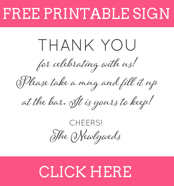 FREE Printable Thank You for Celebrating With Us Favors Sign for Copper Mug Favors - How to DIY: http://emmalinebride.com/favors/copper-mug-wedding-favors/