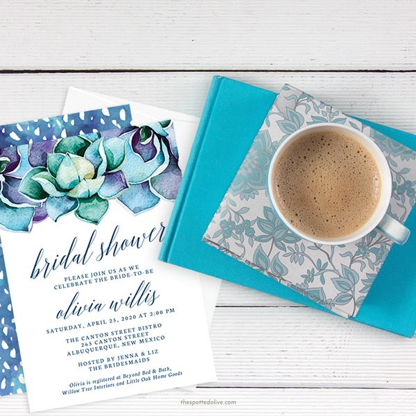 Succulent Bridal Shower Invitation | via Free Bridal Shower Invitations Giveaway from The Spotted Olive