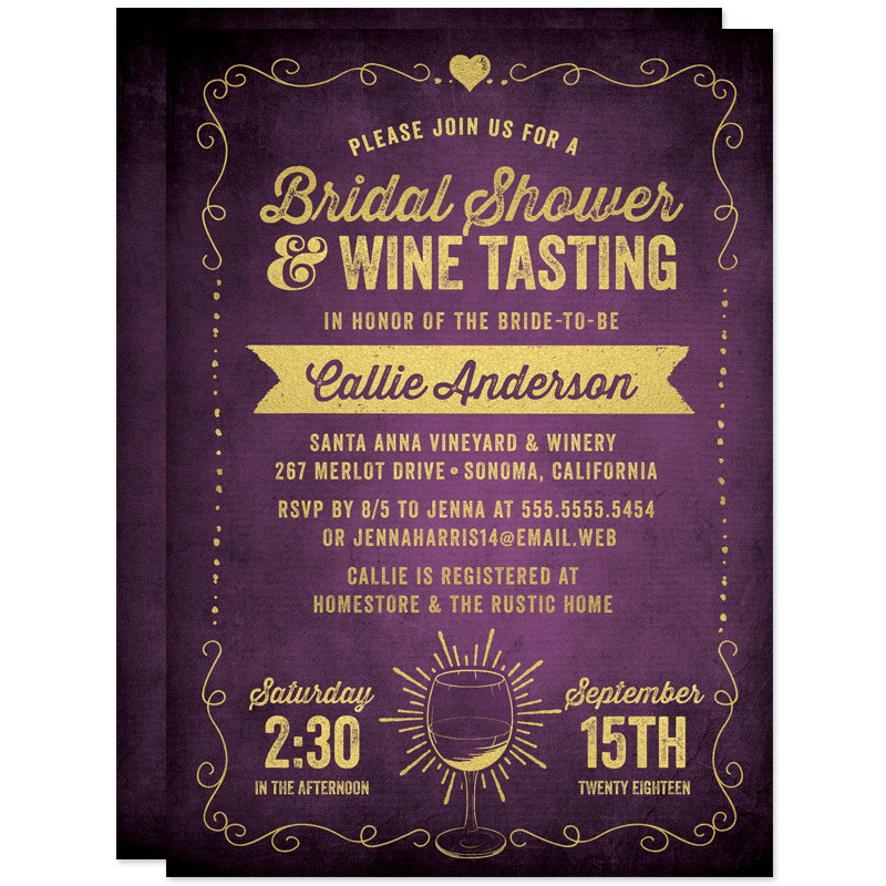 Wine Tasting Bridal Shower Invitation | via Free Bridal Shower Invitations Giveaway from The Spotted Olive