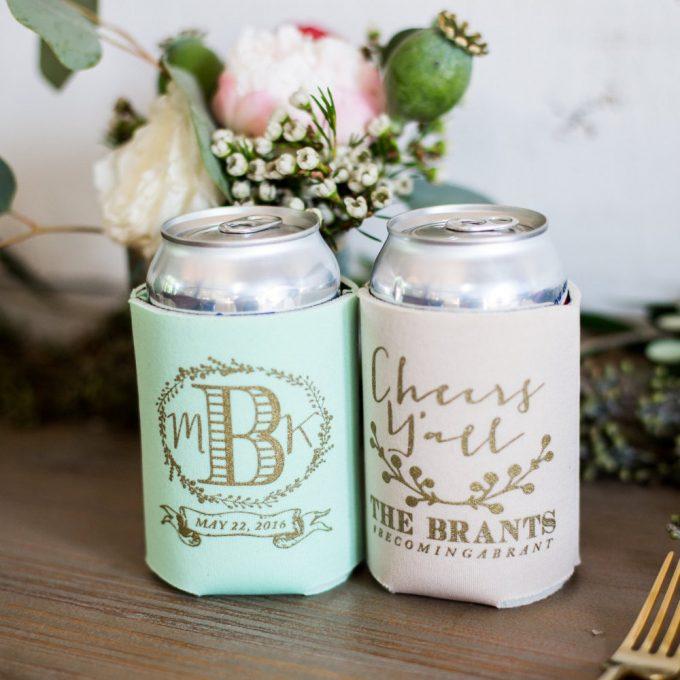 Drink Koozies Weddings, Bachelorette Parties & Bridal Showers | By Sip Hip Hooray | https://emmalinebride.com/favors/drink-koozies-weddings/