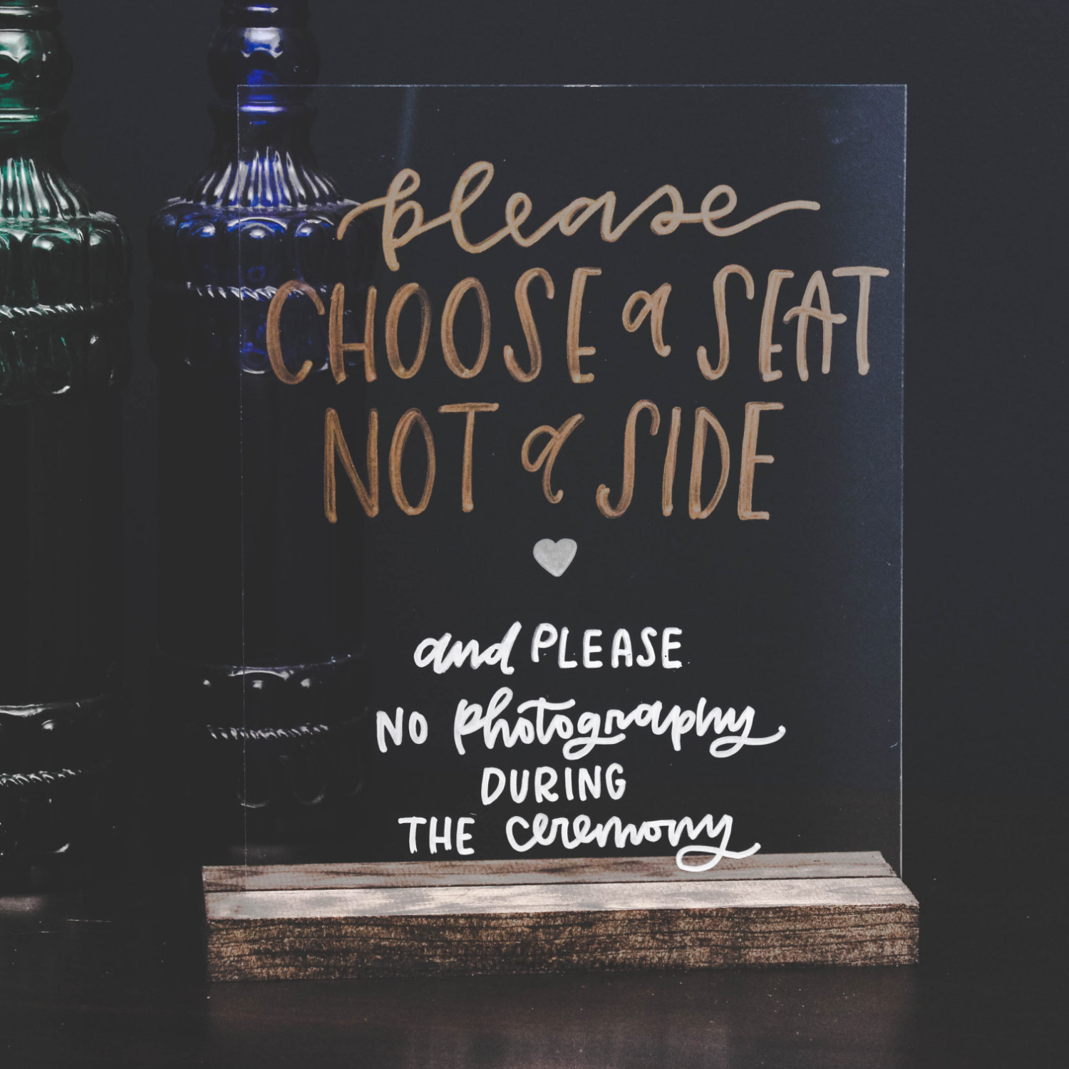 Acrylic signs for weddings are a fun new trend we love! This hand-lettering is beautiful. By Wanderlove Press Co. via https://emmalinebride.com/decor/acrylic-signs-for-weddings/