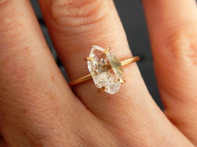 Etsy herkimer diamond engagement ring by Gaia's Candy | http://emmalinebride.com/jewelry/etsy-herkimer-diamond-engagement-ring
