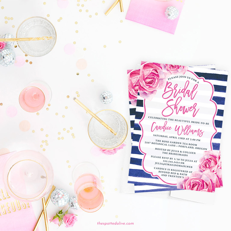 Pink Rose and Navy Stripe Bridal Shower Invitations | via Free Bridal Shower Invitations Giveaway from The Spotted Olive