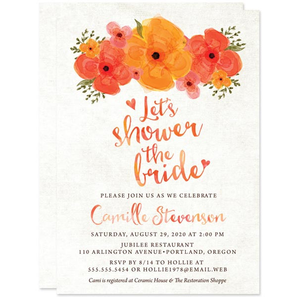 Shower the Bride Bridal Shower Invitation in orange | via Free Bridal Shower Invitations Giveaway from The Spotted Olive
