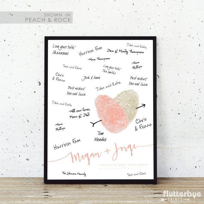 Thumbprint guest book made from your actual thumbprints! What a cool wedding idea! By Flutterbye Prints.