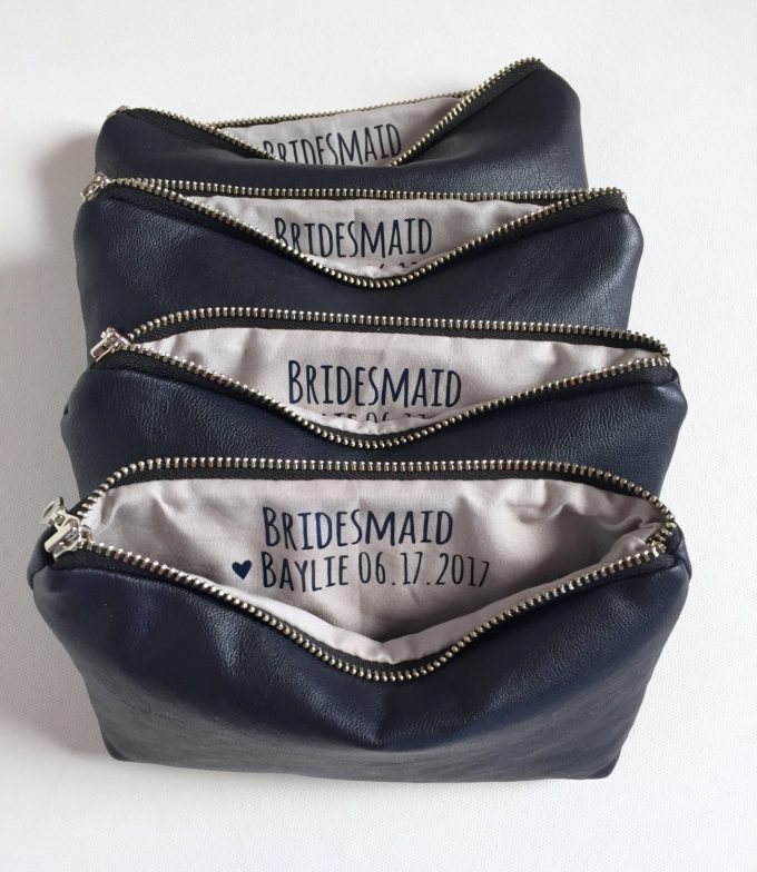 Personalized bridesmaid makeup bags by Shop Sandra Smith