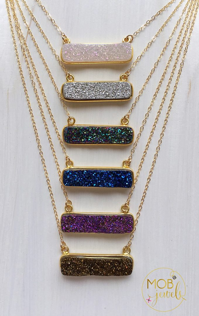 20+ Sparkling Druzy Bar Necklaces | https://emmalinebride.com/planning/druzy-bar-necklaces-bridesmaids/