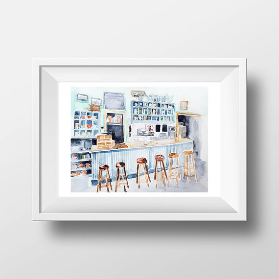 lukes-diner-watercolor-print-by-watercolorwall
