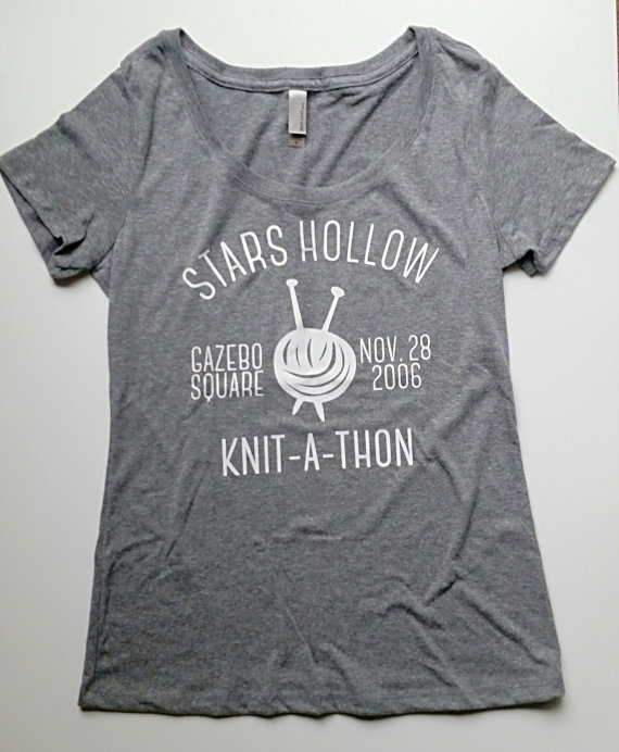 Knit a Thon Gilmore Girls T Shirt via 50+ Best Gilmore Girls Gift Ideas https://emmalinebride.com/gifts/50-best-gilmore-girls-gift-ideas/