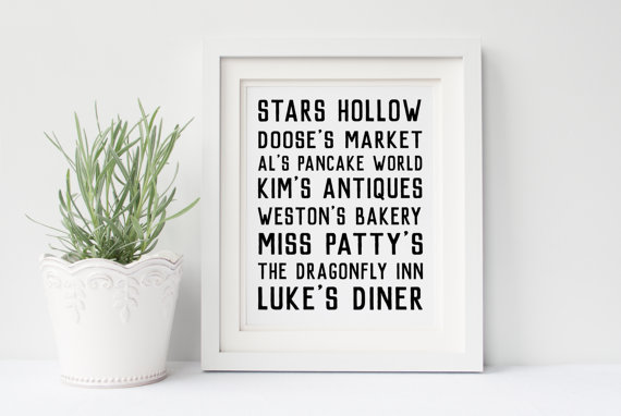 Stars Hollow art print via 50+ Best Gilmore Girls Gift Ideas https://emmalinebride.com/gifts/50-best-gilmore-girls-gift-ideas/