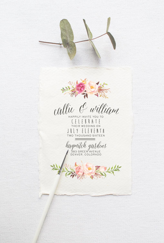 Bohemian printable wedding invitation by Splash of Silver