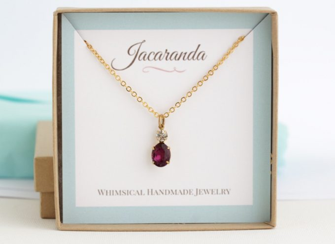 Burgundy Earrings and Necklace Set by Jacaranda Designs