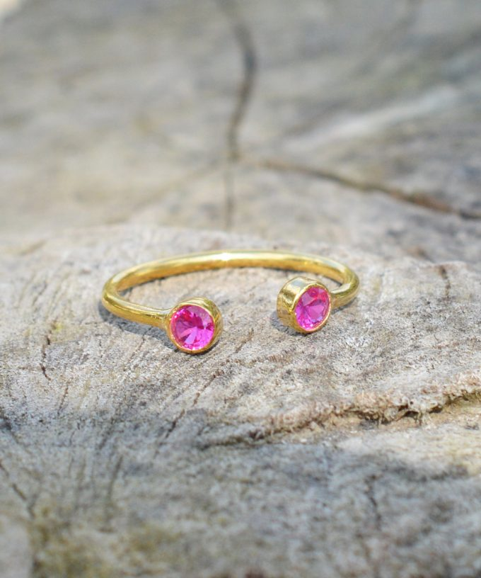 Dual Birthstone Ring by Charm Design Jewelry