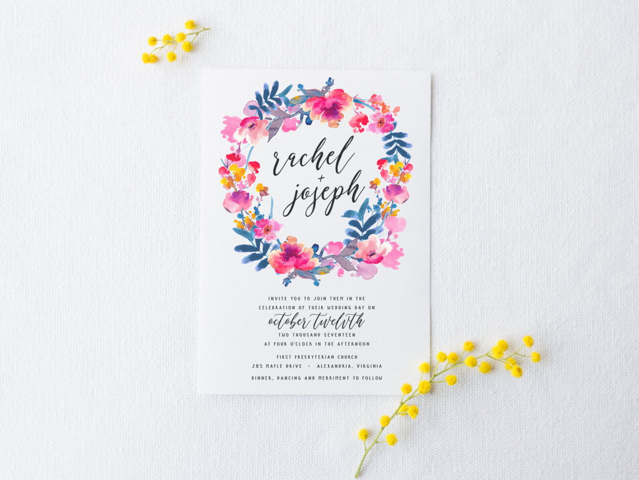 Hot pink watercolor printable wedding invitation by Splash of Silver