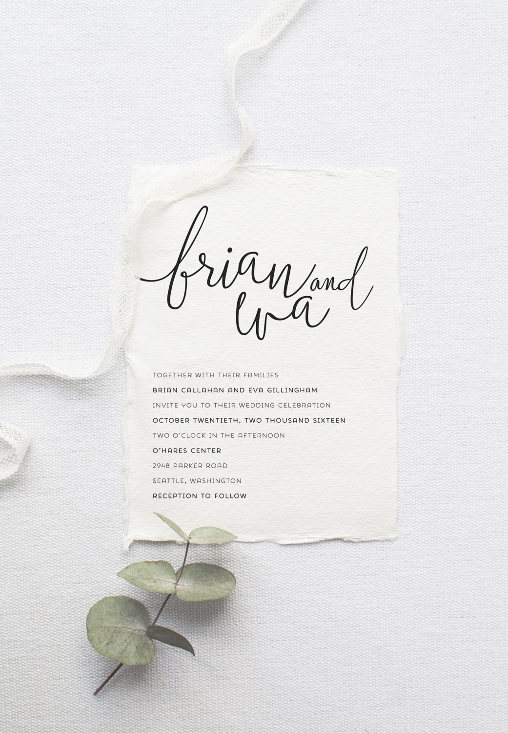 Modern calligraphy printable wedding invitation by Splash of Silver