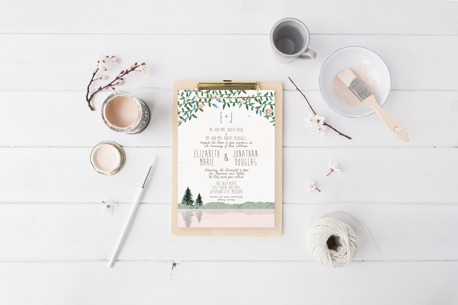 Mountain themed printable wedding invitation by Splash of Silver
