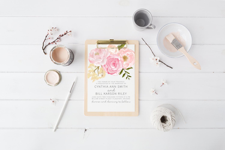 Boho chic printable wedding invitation by Splash of Silver
