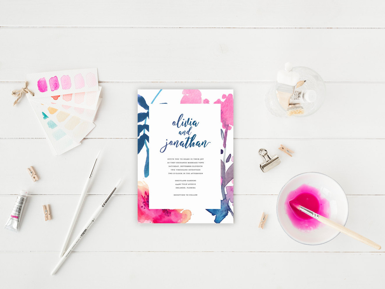 Watercolor themed printable wedding invitation by Splash of Silver