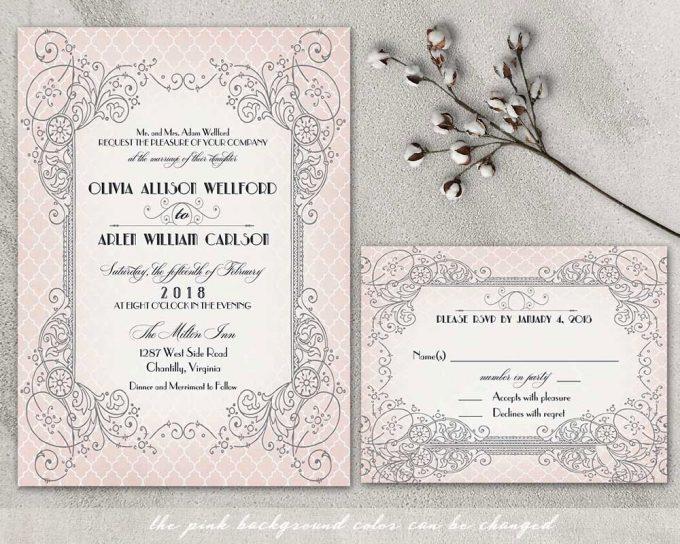 art noveau via free wedding invitations giveaway | https://emmalinebride.com/2017-giveaway/giveaway-win-free-wedding-invitations/