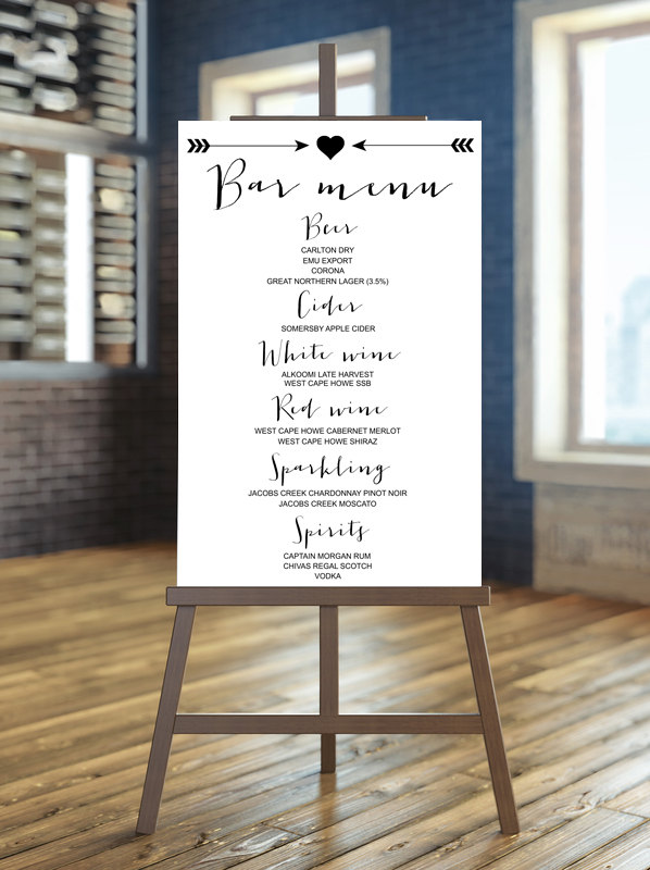 bar menu | via Heart and Arrow Wedding Ideas: https://emmalinebride.com/themes/heart-and-arrow-wedding-ideas