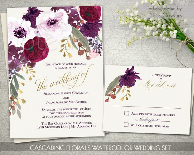 boho chic floral invites via free wedding invitations giveaway | https://emmalinebride.com/2017-giveaway/giveaway-win-free-wedding-invitations/