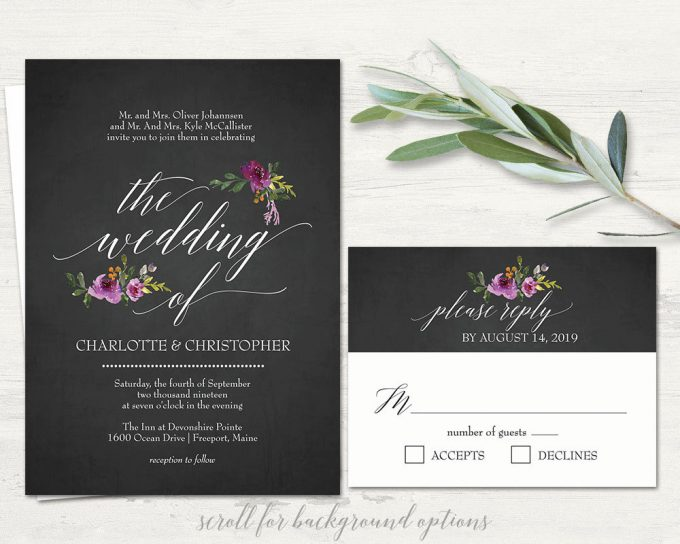 chalkboard floral invitation via free wedding invitations giveaway | https://emmalinebride.com/2017-giveaway/giveaway-win-free-wedding-invitations/