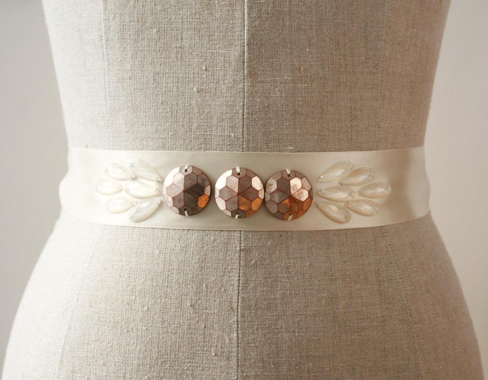 copper sash | elegant bridal sashes by laura stark | http://emmalinebride.com/bride/elegant-bridal-sashes/