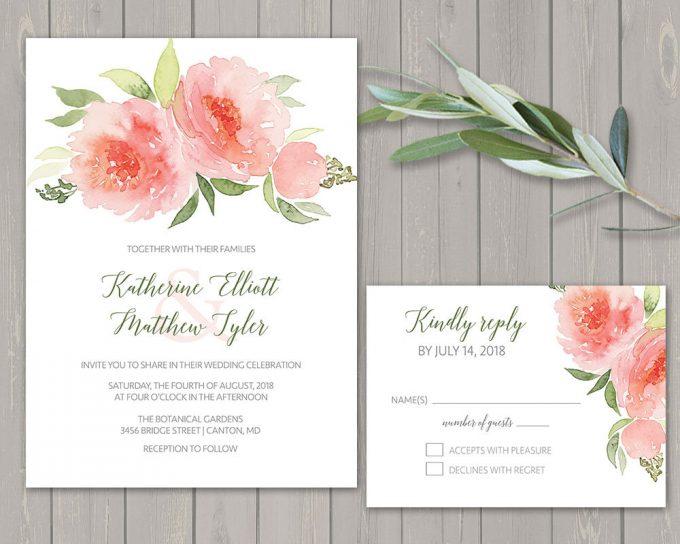 coral floral via free wedding invitations giveaway | https://emmalinebride.com/2017-giveaway/giveaway-win-free-wedding-invitations/