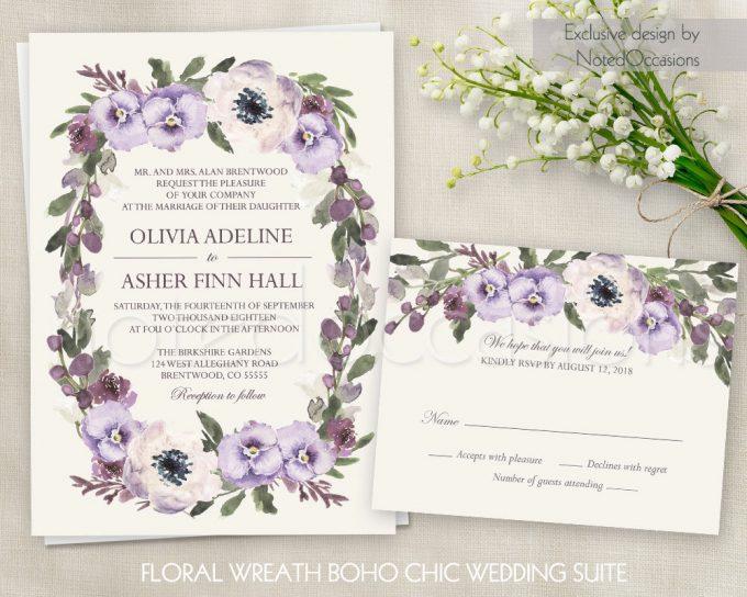 floral wreath invitations via free wedding invitations giveaway | https://emmalinebride.com/2017-giveaway/giveaway-win-free-wedding-invitations/