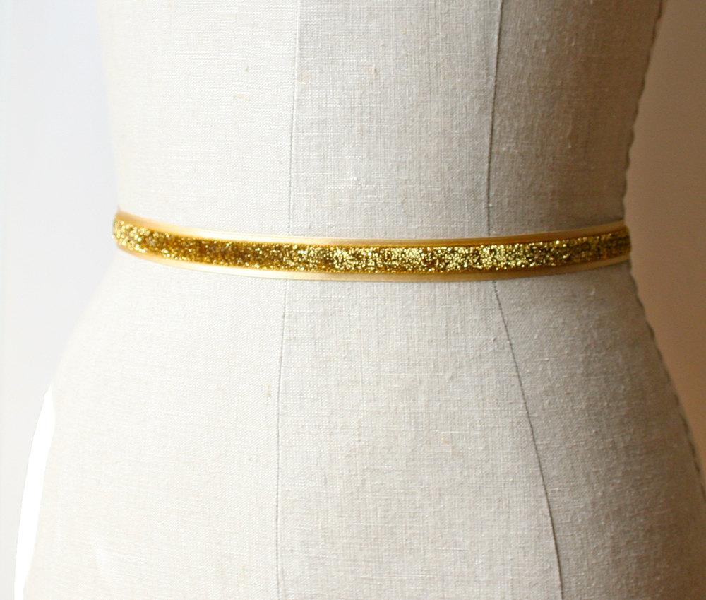 glittery gold sash | elegant bridal sashes by laura stark | http://emmalinebride.com/bride/elegant-bridal-sashes/