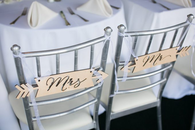 chair signs | via Heart and Arrow Wedding Ideas: https://emmalinebride.com/themes/heart-and-arrow-wedding-ideas