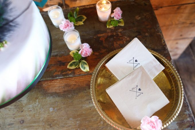 cocktail napkins | via Heart and Arrow Wedding Ideas: https://emmalinebride.com/themes/heart-and-arrow-wedding-ideas