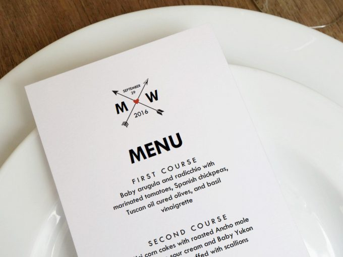 wedding menu | via Heart and Arrow Wedding Ideas: https://emmalinebride.com/themes/heart-and-arrow-wedding-ideas