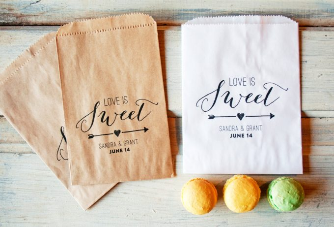 favor bags | via Heart and Arrow Wedding Ideas: https://emmalinebride.com/themes/heart-and-arrow-wedding-ideas