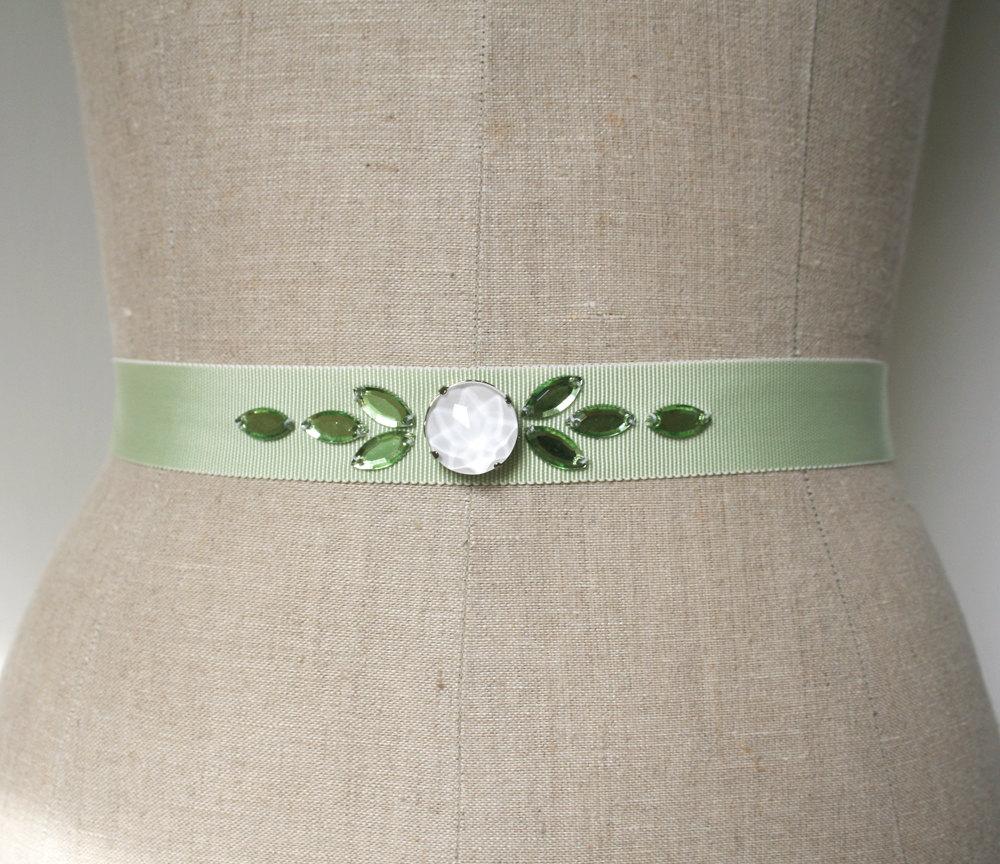 mint green sash | elegant bridal sashes by laura stark | http://emmalinebride.com/bride/elegant-bridal-sashes/