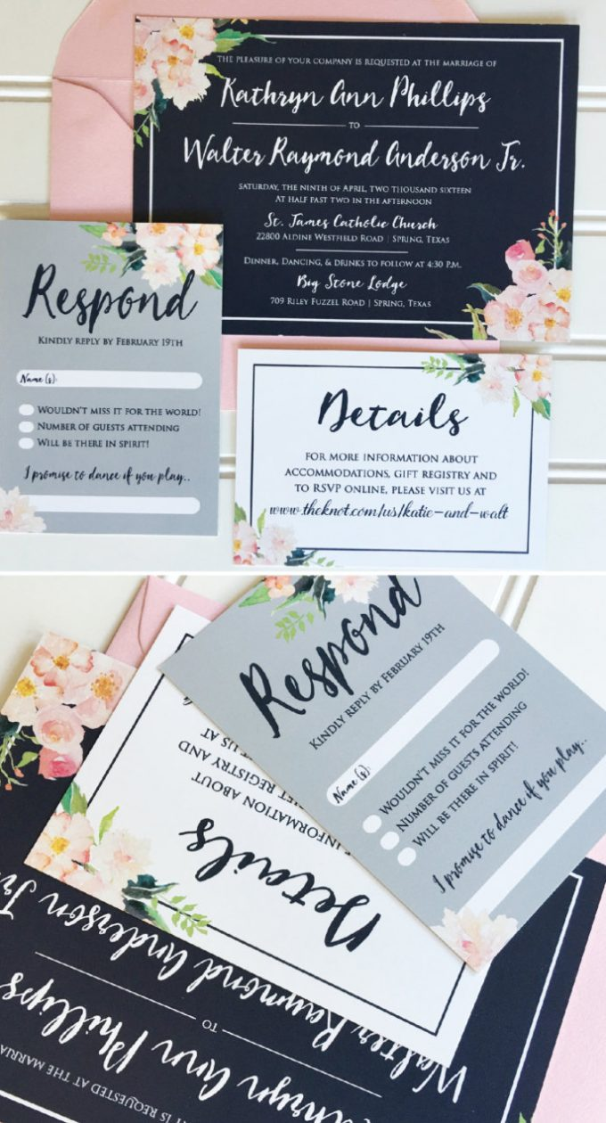 Navy and pink wedding invitations by Hadley Custom Designs