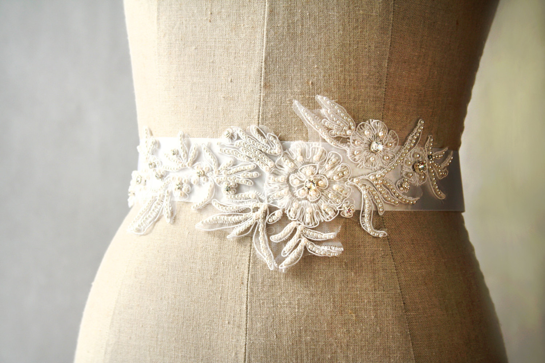 pearl flowers | elegant bridal sashes by laura stark | http://emmalinebride.com/bride/elegant-bridal-sashes/