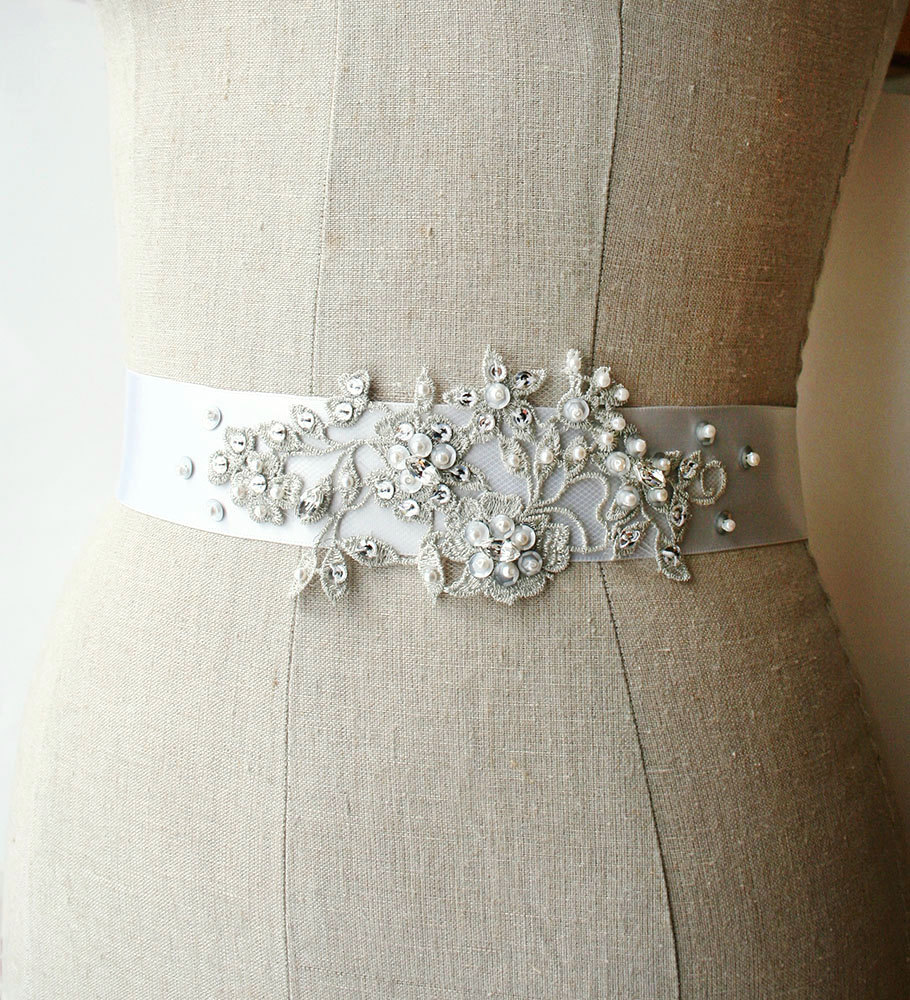 silvery grey | elegant bridal sashes by laura stark | http://emmalinebride.com/bride/elegant-bridal-sashes/