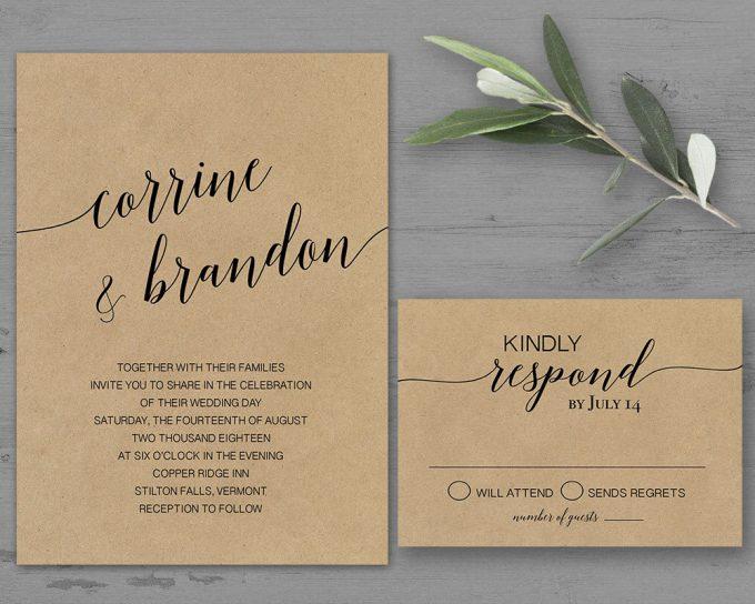 simple kraft via free wedding invitations giveaway | https://emmalinebride.com/2017-giveaway/giveaway-win-free-wedding-invitations/
