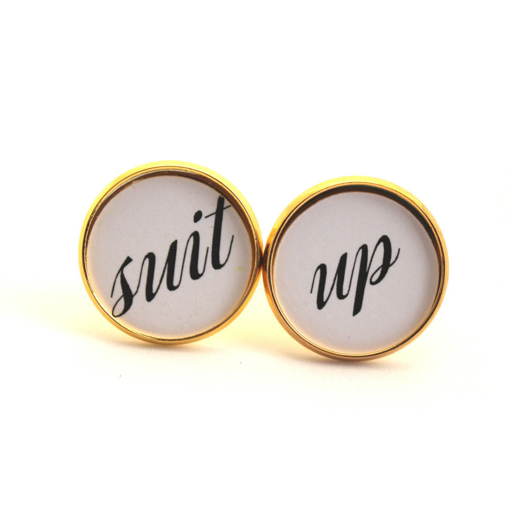Suit Up Cufflinks for Groomsmen | by Over The Moon Bridal | via https://emmalinebride.com/wedding/suit-up-cuff-links/