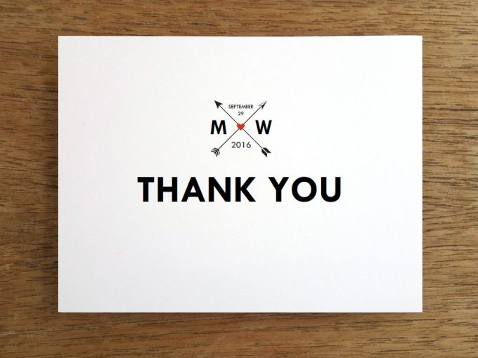 thank you cards | via Heart and Arrow Wedding Ideas: https://emmalinebride.com/themes/heart-and-arrow-wedding-ideas