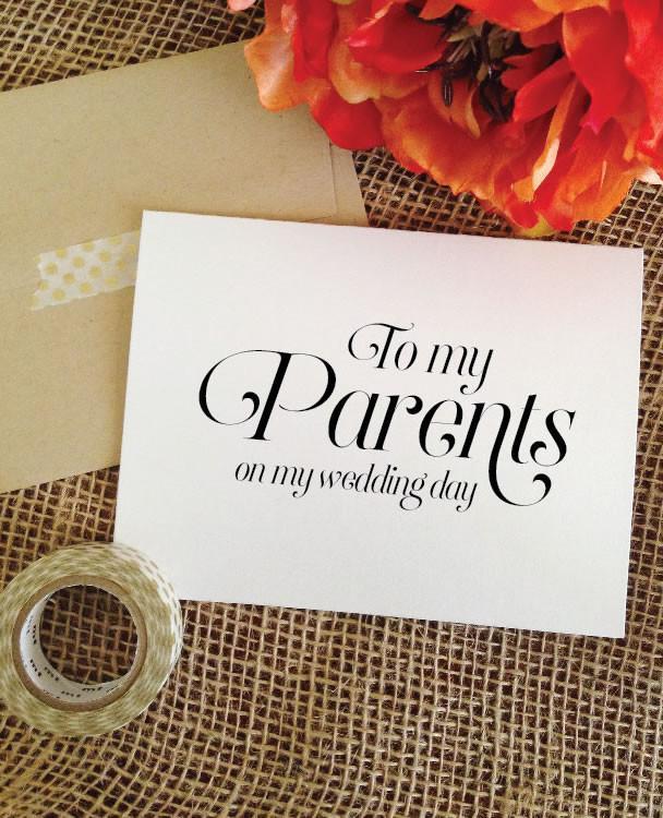 Cute wedding day cards for parents, siblings, best friend, groom, bride, etc. | via http://emmalinebride.com/gifts/wedding-day-cards-for-parents/