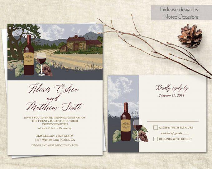 vineyard invitations via free wedding invitations giveaway | http://emmalinebride.com/2017-giveaway/giveaway-win-free-wedding-invitations/