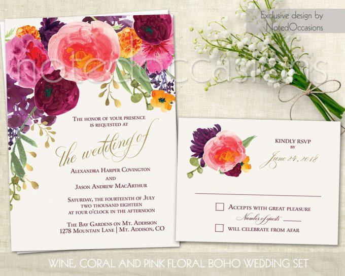 watercolor floral via free wedding invitations giveaway | https://emmalinebride.com/2017-giveaway/giveaway-win-free-wedding-invitations/